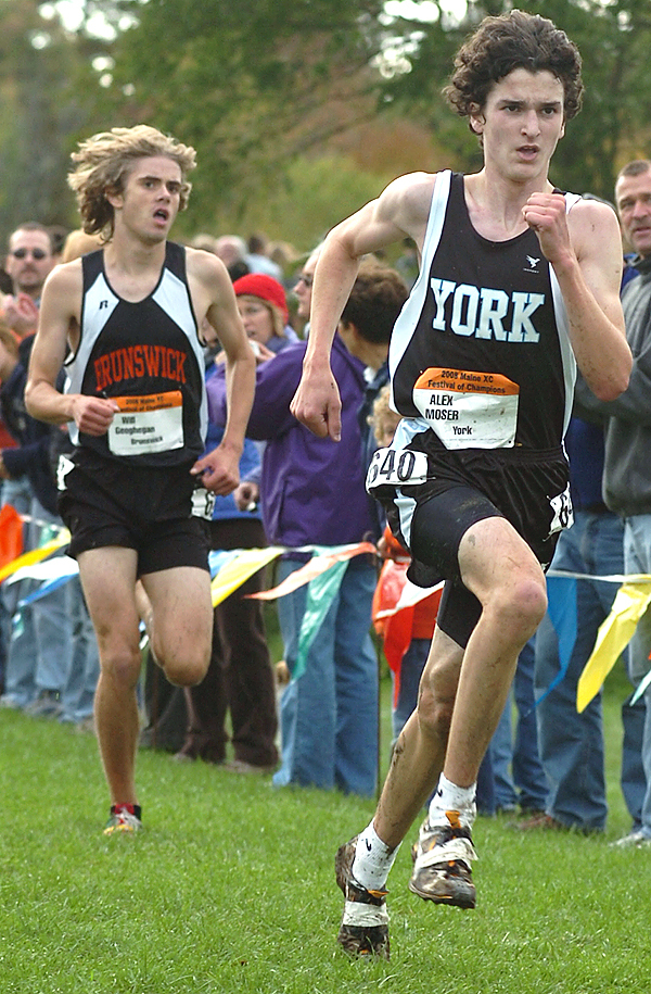 (BANGOR DAILY NEWS PHOTO BY BRIDGET BROWN)  CAPTION  York junior Alex Moser (right) outkicks Brunswick junior Will Geoghegan in the boys' 5K run at the 2008 Maine Cross Country Festival of Champions at Troy Howard Middle School in Belfast on Saturday, Oct. 4, 2008. Moser finished in 16:28.6. (Bangor Daily News/Bridget Brown)