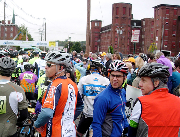 It was standing room only as 3,500 cyclists and runners prepare to leave Lewiston for the inaugural Dempsey Challenge to support the Patrick Dempsey Center for Hope & Healing at Central Maine Medical Center. (Bangor Daily News/Julia Bayly)