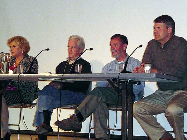 Experts on food issues helped participants at the Food For Thought, Time for Action seminar on sustainable agriculture and aquaculture, held Saturday at the College of the Atlantic on Mount Desert Island. They included (from left) Dr. Angelika Ploeger of Kassel University in Germany, Eliot Coleman, a Maine author and organic farmer, Ted Ames, a fisherman and fisheries researcher, and John Piotti (D-Unity), Maine's House Majority Leader and executive director of Maine Farmland Trust. The three-day seminar brought together researchers, farmers, fishermen and policy makers to find solutions to food issues and concerns. (Bangor Daily News/Sharon Kiley Mack)