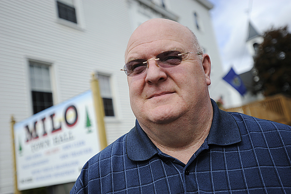 (BANGOR DAILY NEWS PHOTO BY JOHN CLARKE RUSS)  CAPTION  Jeff Gahagan has dealt with more crises in his short tenure than most town managers do in a lifetime. Photographed in front of Milo Town Hall Friday afternoon, October 2, 2009. (Bangor Daily News/John Clarke Russ)