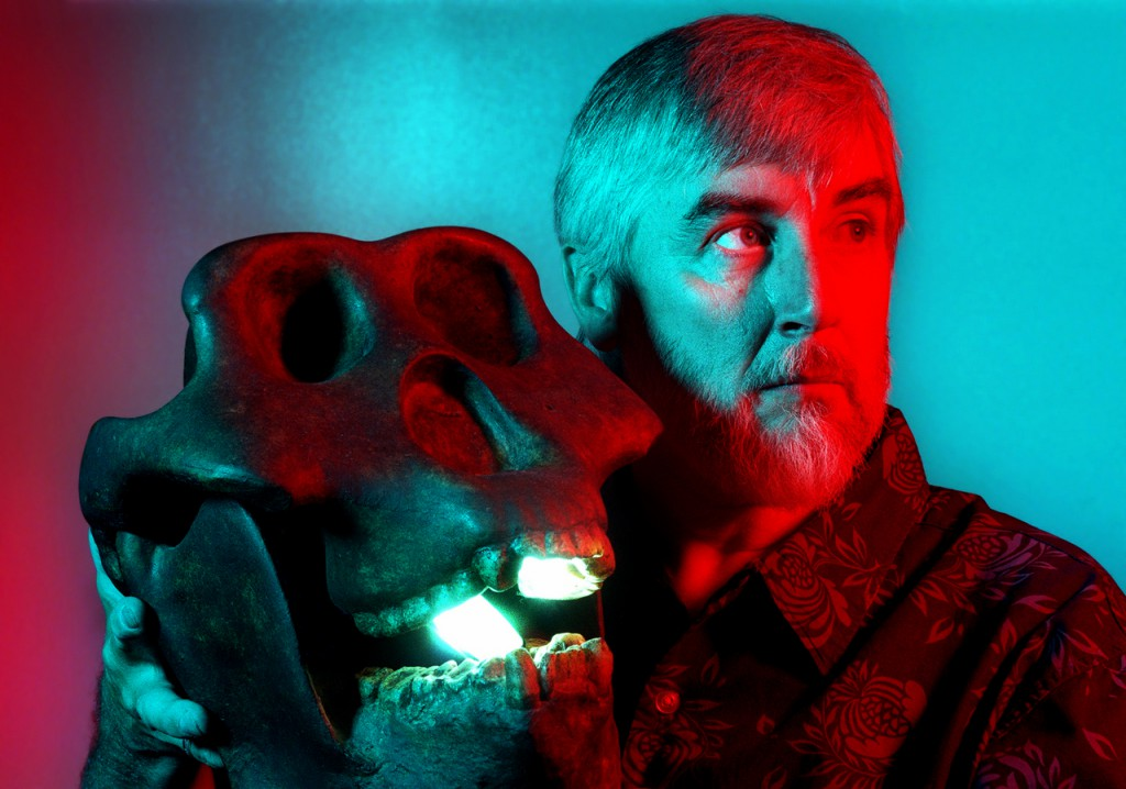 Loren Coleman holds a plaster skull made from fossils of Gigantopithecus, which scientists believe to be the largest primate to have existed. It is believed to have lived 5.5 million years ago. (NEWS Photo by Anthony Robert La Penna)