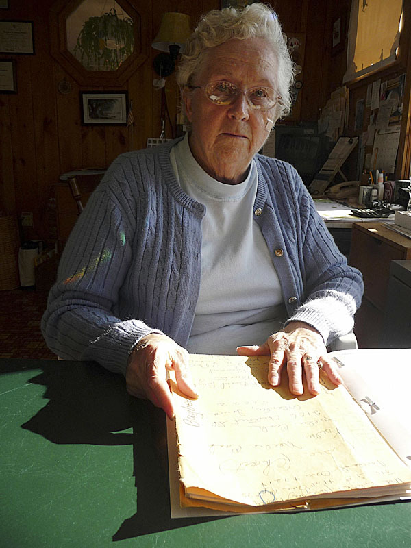 Valdine Atwood, 78, was recently honored for her many years of devotion to genealogy and historical research by the Maine Genealogy Society. &quotI love history,'' she said. Her Machias home is filled with hundreds of volumes of historical information, file folders listing names and backgrounds of Machias people and places, and 17 file drawers of documented genealogical studies. (Bangor Daily News/Sharon Kiley Mack)