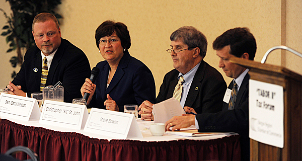 (L to R) Rep. Jim Martin, D-Bangor/Orono/Veazie, Sen. Carol Weston, R-Waldo County, Christopher &quotKit&quot St. John, Executive Director, Maine Center for Economic Policy and Steve Bowen, Director of the Center for Education Excellence, Maine Heritage Policy Center make up a panel that examined the TABOR 2 tax issue that will appear on the November ballot during a luncheon for members of the Bangor Chamber of Commerce at Jeff's Catering in Brewer on Wednesday, Oct. 7, 2009.  (Bangor Daily News/Kevin Bennett)
