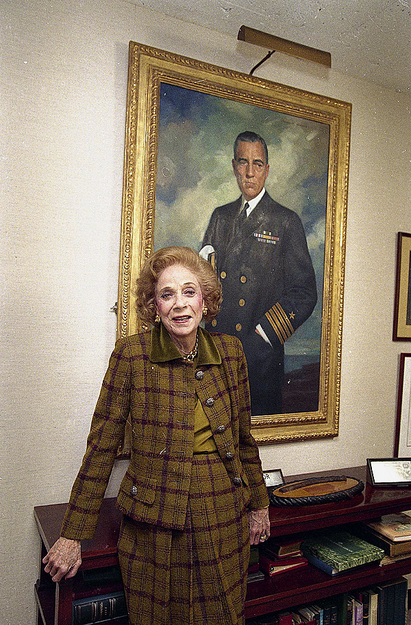 FILE - In a , March 1992 file photo, Brooke Astor, the queen of New York's society, is seen in her Park Avenue apartment. She is shown in front of a portrait of her late husband, Vincent Astor.(AP Photo/Alex Brandon, File)