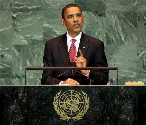 File - U.S. President Barack Obama addresses the 64th session of the United Nations General Assembly,  in this Sept. 23, 2009 file photo. President Obama on Friday Oct. 9, 2009 won the 2009 Nobel Peace Prize for &quothis extraordinary efforts to strengthen international diplomacy and cooperation between peoples,&quot the Norwegian Nobel Committee said. (AP Photo/Richard Drew, File)