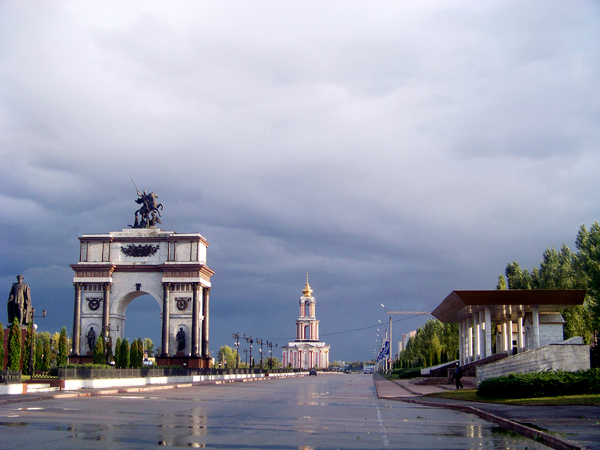 Monuments line the entrance of Kursk, Russia memorializing the epic and deathly battles that were fought in this part of Russia between German and Soviet forces during World War II. (Levi Bridges Photo)