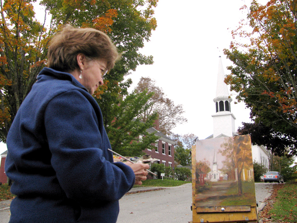 Celene Farris of Montville paints the First Congregational Church Saturday at Fling Into Fall. Her painting, along with the work of 24 other artists, was slated to be auctioned Saturday evening with at least half of the proceeds donated to the Penobscot Marine Museum. &quotI hope they raise a lot of money,&quot Farris said. &quotIt's a beautiful spot.&quot   BANGOR DAILY NEWS PHOTO BY ABIGAIL CURTIS