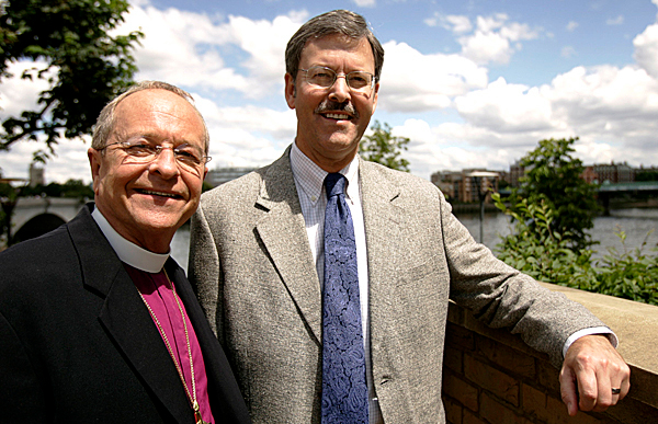 Gene Robinson the openly gay Anglican Bishop from Concord NH, with his partner Mark Andrew at St. Mary's Church in Putney, London, Sunday July 13, 2008. Robinson will preach a sermon at the church later Sunday. (AP Photo/Alastair Grant)