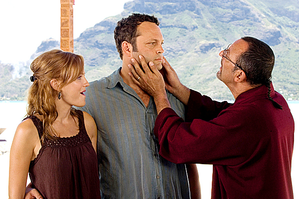 In this film publicity image released by Universal Pictures, Malin Akerman, left, Vince Vaughn, center, and Jean Reno are shown in a scene from &quotCouples Retreat.&quot (AP Photo/Universal Pictures, John Johnson)