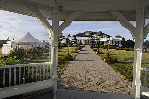 A backyard view from the oceanfront gazebo of the The Retreat at French's Point in Stockton Springs. A pro bono wedding weekend for documentary film makers Gita Pullapilly and Aron Gaudet is taking place at the site. They marry Friday. (Bangor Daily News/John Clarke Russ)