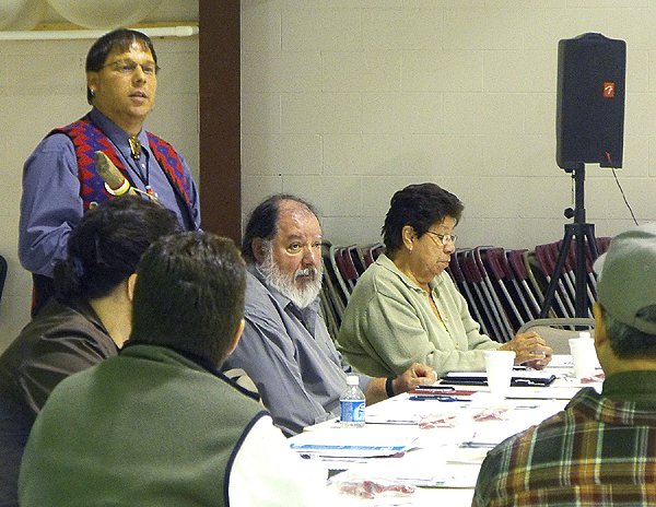 Cut Line: David Slagger, Maine Tribal Partnership Specialist for the U.S. Census Bureau, speaks at a meeting Thursday between the bureau and representatives from the Houlton Band of Maliseet Indians and the Aroostook Band of Micmacs. Officials with the U.S. Census Bureau acknowledged that many Native Americans are wary of the federal government, so they are reluctant to stand up and be counted during the U.S. Census. With Census 2010 right around the corner, census officials were in Aroostook County to work with tribal leaders to assure that all tribal members are counted. (BANGOR DAILY NEWS PHOTO BY JEN LYNDS)