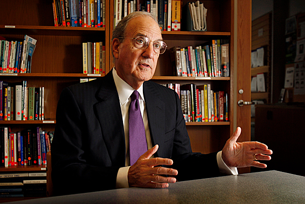 Former U.S. Sen. George Mitchell speaks to a reporter, Thursday, Oct. 22, 2009, in Waterville, Maine.  Mitchell, President Obama's special envoy to the Middle East, discussed his experiences as a negotiator while visiting Colby College in his hometown in Maine. He said he is not in the least bit discouraged about efforts to negotiate peace in the Middle East. (AP Photo/Robert F. Bukaty)