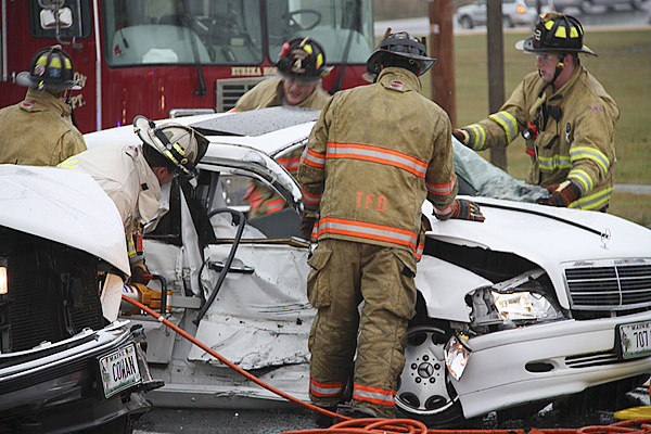 The Rockland Fire Department responded, as mutual aid with &quotJaws of Life&quot, to Rt. 1 at Lowe's in Thomaston for a two vehicle accident.  The accident occurred at about 10:35 a.m. Saturday, Oct. 24, 2009. (Photo Courtesy of Rockland Fire Department/Alan Athearn)