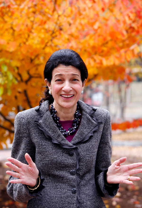 Sen. Olympia Snowe, R-Maine, laughs during a light moment after an interview with The Associated Press in  Portland, Maine, on Friday, Oct. 30, 2009.  Snowe spoke about aspects of health care reform legislation at the Capitol. AP PHOTO BY PAT WELLENBACH