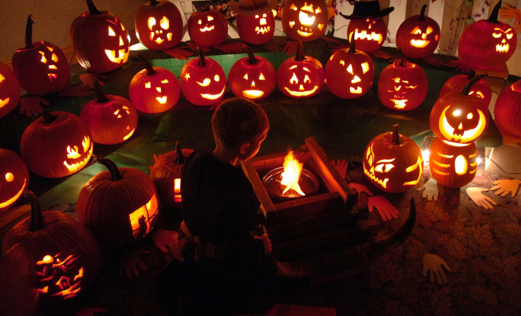 Gavin Boone, 4, of Bangor marvels at the jack-o-lantern display made by members of Cub Scout Pack 8 in Bangor at the 7th annual Pumpkins in the Park at the Bangor Auditorium on Saturday, Oct. 31, 2009. United Cerebral Palsy sponsered the event whose theme this year was the Wild West. (Bangor Daily News/Bridget Brown)