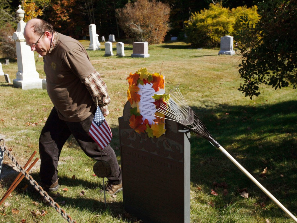 Walter Skold, founder of the Dead Poets Society of America, walks past a gravestone recently at a graveyard in Cundys Harbor, Maine. Skold, an amateur poet, says he just finished a three-month road trip in which he visited the graves of 150 poets in 23 states, hoping to call attention to some of the dead poets' work.