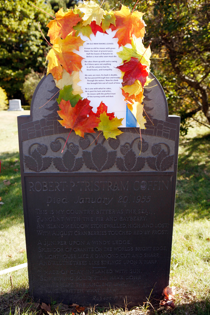 An adorned poem decorates a tombstone recently in Cundys Harbor, Maine.