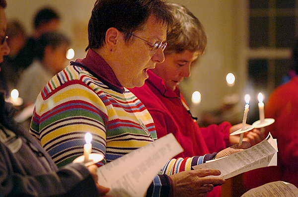 Peg Olson (left) and her partner Kate Petrie of Dedham participate in an interfaith candlelight vigil organized by the Religious Coalition for the Freedom to Marry in Maine at St. Patrick's Episcopal Church in Brewer on Sunday, Nov. 1, 2009. Similar vigils were held at more than half a dozen churches throughout the state in the final push before election day for the NO on Question 1 campaign. (Bangor Daily News/Bridget Brown)