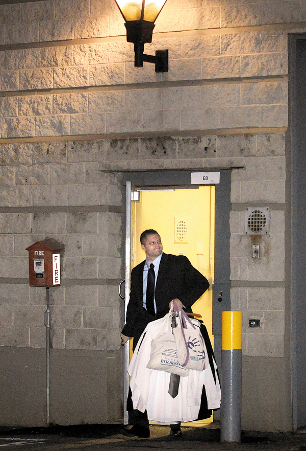 Ryan Witmer walks out of the Penobscot County Jail after he was acquitted of aggravated attempted murder and several other charges by a jury in  Penobscot County Superior Court Monday evening. (Bangor Daily News/Gabor Degre)