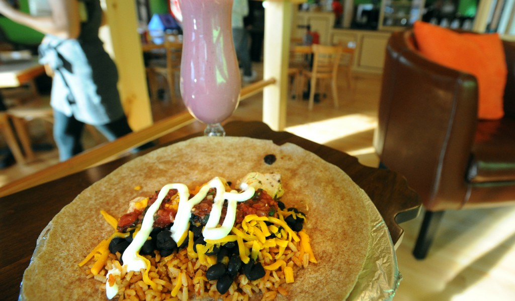 A chicken burrito at the Verve in Orono. (Bangor Daily News/Gabor Degre)