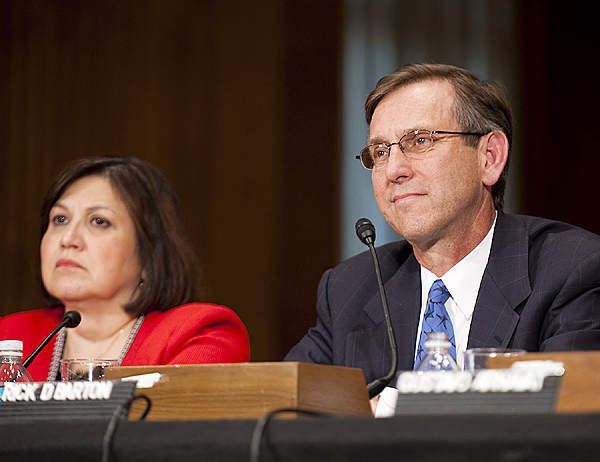 Nov. 4, 2009-Frederick &quotRick&quot D. Barton, of Maine, nominated to be Representative of the U.S. on the Economic and Social Council of the United Nations, with the rank of Ambassador, testifies at the Senate's committee on foreign relations hearing in Washington, D.C. He is seated next to Carmen Lomellin. (Caroline Treadway photo)