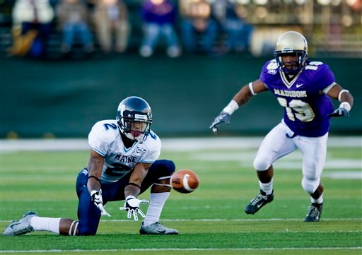 Maine's Landis Williams (2) tries to pull in a pass against James Madison in an NCAA college football game at Bridgeforth Stadium in Harrisonburg, Va., on Saturday, Nov. 7, 2009. JMU won the game 22-14. (AP Photo/Daily News-Record, Pete Marovich)