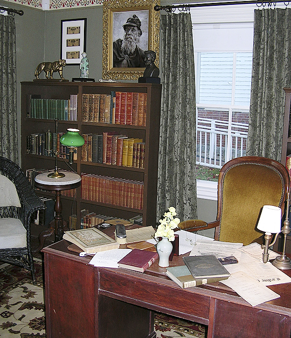 A recreation of the library of Noah Brooks, a Castine native who was a friend of President Abraham Lincoln, is part of the local backdrop for traveling exhibit celebrating the bicentennial of Licoln's birth. The exhibit, sponsored by the Wilson Museum and the Castine Historical Society, is on display at the historical society. (Bangor Daily News photo by Rich Hewitt)