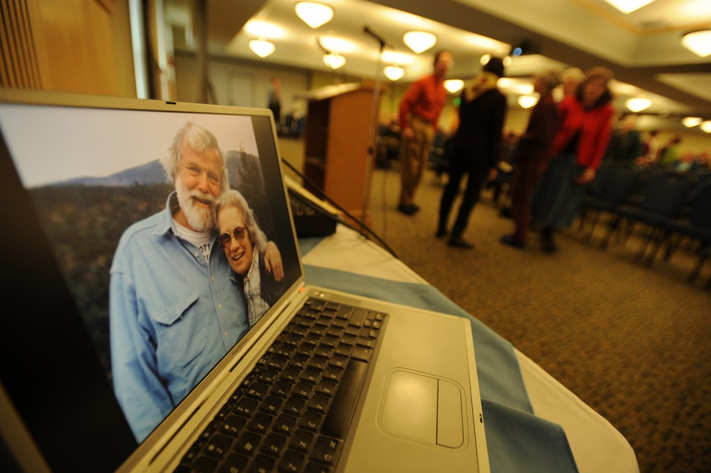 An image of Sandy Ives and his wife Bobby is seem on a laptop computer used to project  a slide show of images on Saturday, Nov. 7, 2009 at the University of Maine just before a memorial celebration in remembrabce of the late professor who served as a UMaine faculty member for 44 years. Ives founded Maine Folklife Center in 1971 and passed away in August of 2009 at the age of 83. (Bangor Daily News/Kevin Bennett)