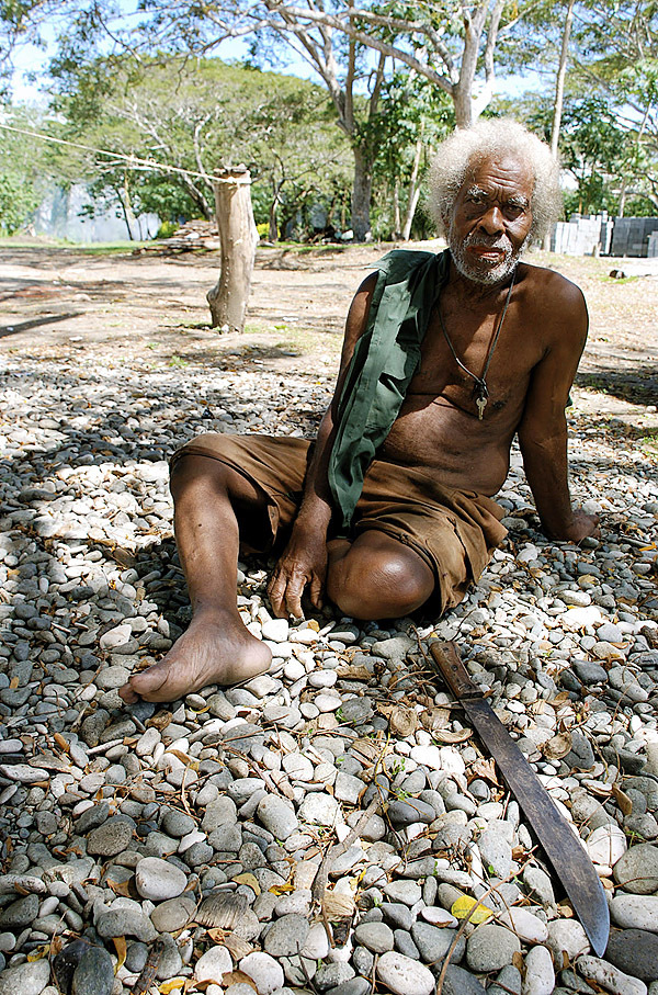One of the few surviving elderly native scouts who helped the U.S. troops during the war in the Pacific. These scouts are considered heroes to the local people of their islands.(Photo courtesy of Anderson Giles)