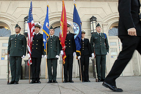 Members of the University of Maine Army ROTC and Navy ROTC stand at attention during the the first rotation of their Veteran's Day Vigil at the Fogler Libary on U Maine's Orono Campus Wednesday morning, November 11, 2009. Left to right are Cadet Private Jossette Hernandez (cq) of Bronx,NY, Midshipman 3rd Class Kevin Schwenk of of Gales Ferry, CT, Cadet Spencer Pelkey of Millinocket, Midshipman 3rd Class Matthew Ellis of Topsham, ME, Midhshipman 3rd Class Amanda Schliefer of Camden, DE, and Cadet Staff Sergeant Frank Kessler of Amherst, ME. The vigil took place from 10 a.m to 2 p.m. Approximately 30 midhipmen and cadets took part in the vigil with a changing of the colors every 30 minutes. (Bangor Daily News/John Clarke Russ)