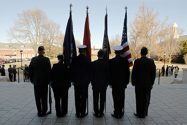 Members of the University of Maine Army ROTC and Navy ROTC stand at attention during the the first rotation of their Veteran's Day Vigil at the Fogler Libary on U Maine's Orono Campus Wednesday morning, November 11, 2009. The vigil took place from 10 a.m to 2 p.m. Approximately 30 midshipmen and cadets took part in the vigil with a changing of the colors every 30 minutes. (Bangor Daily News/John Clarke Russ)