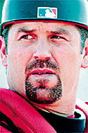 Boston Red Sox catcher Jason Varitek looks to the pitcher during the team's first official spring training workout, Friday, Feb. 18, 2005, in Ft. Myers, Fla.  Varitek signed a four-year contract with the Red Sox during the off season. (AP Photo/Robert F. Bukaty)