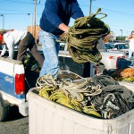Lobstermen line up for rope exchange