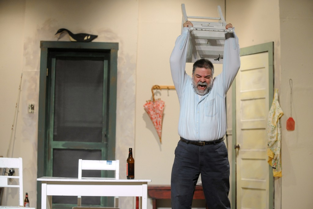 Michael Reichgott during the rehearsal of the play Good to Be True.  The play written by Rick Doyle of Ellsworth will be performed by the New Surry Theatre at the Blue Hill Town Hall November 20th and 21st at 7pm. (Bangor Daily News/Gabor Degre)