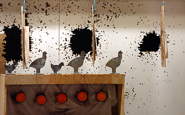 (BANGOR DAILY NEWS PHOTO BY BRIDGET BROWN)  CAPTION  The wall behind the indoor shooting range targets is seen at the Blue Hill Rifle & Pistol Club on Sunday, Oct. 18, 2009. (Bangor Daily News/Bridget Brown)  HOLD FOR POSSIBLE USE IN GUNS IN MAINE SERIES