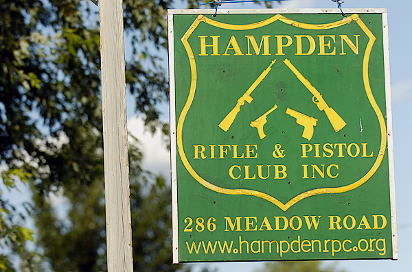 Hampden Rifle and Pistol Club sign on Meadow Road in Hampden. The Penobscot County Conservation Association, in conjunction with the National Rifle Association, sponsored an &quotIntroduction to Shooting Sports&quot event there as well as at the Hermon Skeet Club on Saturday, August 8, 2009 to promote firearm safety and sportsmanship. (Bangor Daily News/John Clarke Russ)