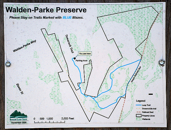 A map of the Bangor Land Trust's  205-acre Walden-Parke Preserve (cq). Photographed at the Bangor Land Trust trail head at the end of Tamrack Trail in Bangor. (Bangor Daily News/John Clarke Russ)
