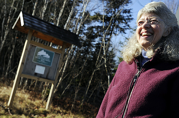 Lucy Quimby, president of the Bangor Land Trust, addresses the media Thursday morning, November 19, 2009 regarding the trust's management plan for their 205-acre Walden-Parke Preserve (cq). She was standing at the Bangor Land Trust trailhead at the end of Tamarack Trail in Bangor. (Bangor Daily News/John Clarke Russ)