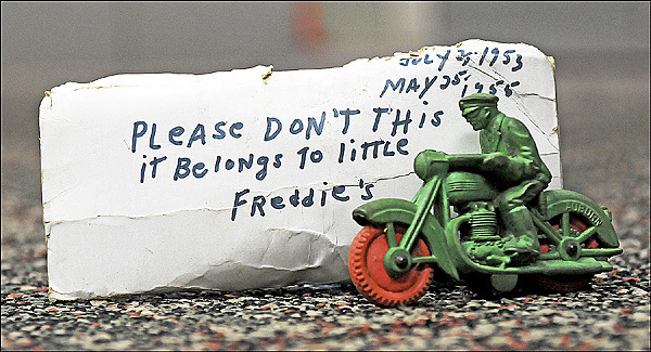 This is a toy that belonged to Freddie Holmes who wandered his home outside of Grahamsville in 1955. (Times Herald-Record photo)