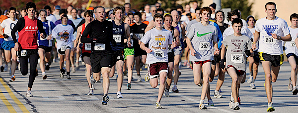 The start of the Brewer Turkey Trot Sunday afternoon, November 22, 2009. Eventual winner Riley Masters (bib number 261) is on the right. (Bangor Daily News/John Clarke Russ)