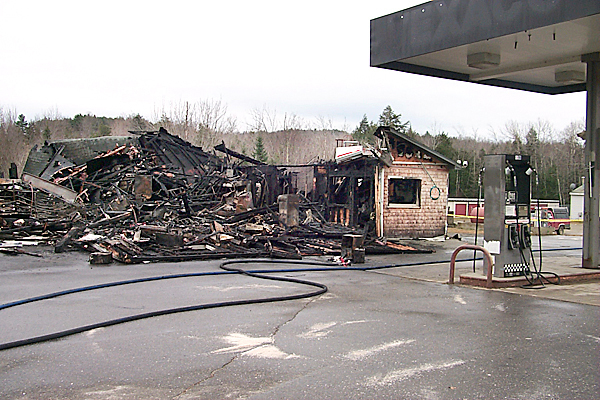 Fire destroyed the Liberty Trading Post on Route 3 Sunday night. Fire fighters from 10 towns responded to the alarm and took more than three hours to contain the fire. Along with selliong groceries and hardware, the store was the only place in town to gas up the car.