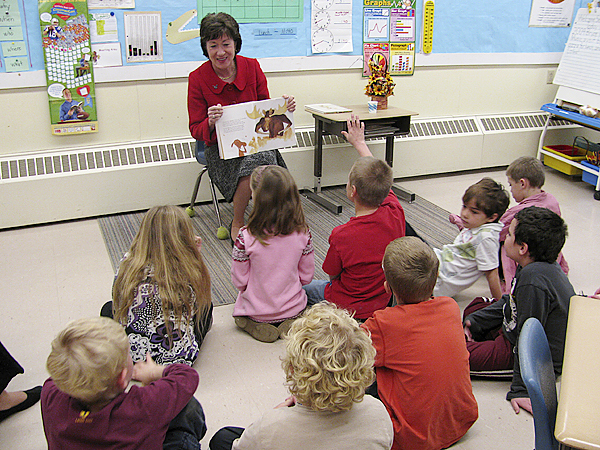 UNION -- U.S. Sen. Susan Collins read the picture book 'Antlers Forever!' Tuesday afternoon to the second grade at Union Elementary School. &quotIf you learn to be a good reader, you can be whatever you want to be when you grow up,&quot she told them. &quotNo matter what you want to be, if you believe in yourself and work hard, you can. Maybe one day one of you will replace me in the United States Senate.&quot (Bangor Daily News/Abigail Curtis)