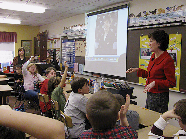 UNION -- Fourth graders at Union Elementary School competed Tuesday afternoon to answer a question asked by U.S. Sen. Susan Collins. Afterwards, teacher Donna Munro said that it was a great experience for her pupils. &quotAnything like that opens their world to possibilities,&quot she said. (Bangor Daily News/Abigail Curtis)
