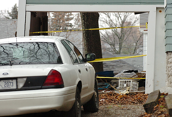 A garage where a vehicle crashed through Wednesday evening is seen Thursday, Nov. 26, 2009 at 80 Cumberland Street in Bangor. (Bangor Daily News/Bridget Brown)