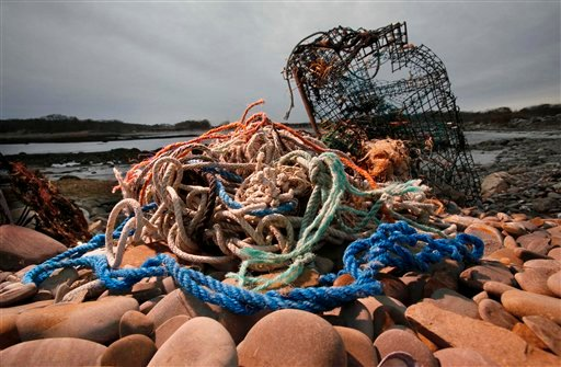 In this Friday, Nov. 13, 2009 photo, a washed-up lobster trap and tangled line sit on a beach in Biddeford, Maine. Fishermen have been losing and discarding nets and traps for as long as they've plied the world's seas. But the range and impact of that lost gear has grown in the past 50 years as fishing effort has increased and fishing gear has become more durable with the increased use of non-biodegradable materials. (AP Photo/Robert F. Bukaty)