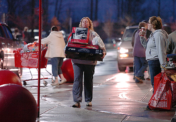 &quotThey ran out of carts,&quot said Tina Barker of Lincoln after shopping at Target in Bangor on Black Friday, Nov. 27, 2009. Barker said she spent the night in Bangor so she could start shopping at 4 a.m. Friday and that she had hit three stores before 7 a.m. (Bangor Daily News/Bridget Brown)