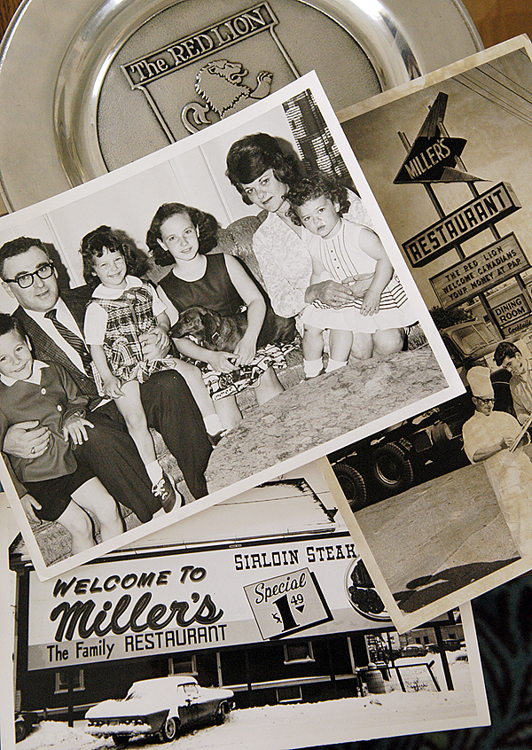 Some of the Miller family's photos are seen from the restaurant's more than 50 years of business. The family photo shows Sonny and first wife Lorraine with their children in 1964. Lorraine was pregnant with John Miller at the time. (BANGOR DAILY NEWS PHOTO BY JOHN CLARKE RUSS)