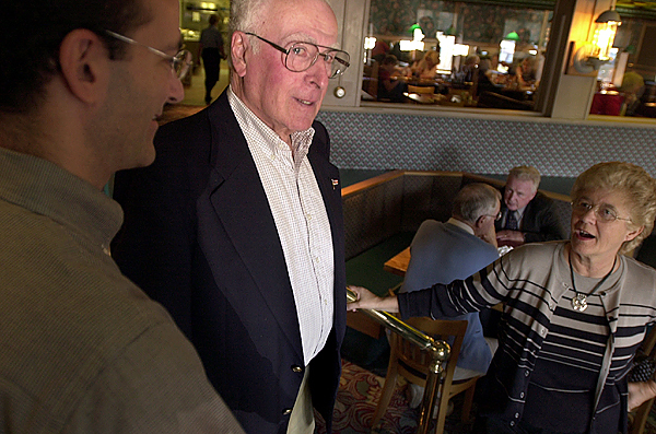 Flanked by his son John (left) and his wife Joanne, Sonny Miller is completely at home milling around the restaurant he started 50 years ago, Miller's Restaurant. (NEWS Photo by Stephen M. Katz)