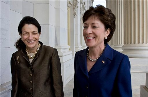 FILE - In this Oct. 22, 2009, file photo, Maine's Republican Senators, Olympia Snowe, left, and Susan Collins are seen on Capitol Hill in Washington. In a national GOP ruled by Southern and Western conservatives, Snowe and Collins stand out. Along with retiring New Hampshire Sen. Judd Gregg, they are the only New England Republicans left in Congress.  (AP Photo/Harry Hamburg, File)