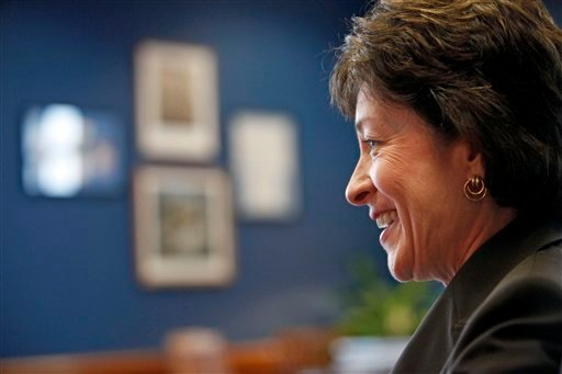 In this photo taken on Oct. 30, 2009, Sen. Susan Collins, R-Maine is interviewed by The Associated Press in her office on Capitol Hill in Washington. Moderate Republicans may be a vanishing breed elsewhere, but Maine Sens. Olympia Snowe and Susan Collins are thriving. In a narrowly divided Senate, the two women enjoy outsized influence. (AP Photo/Haraz N. Ghanbari)